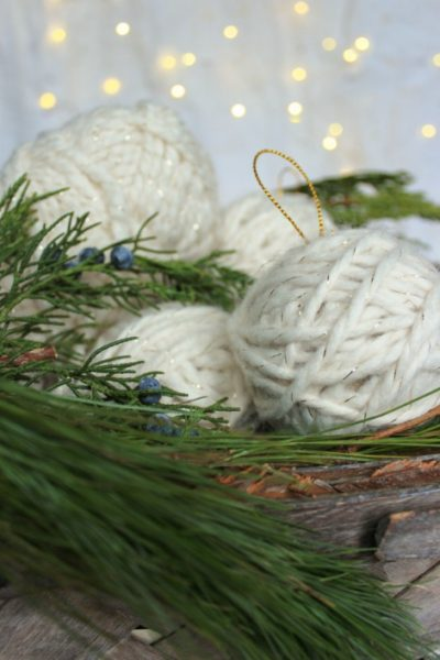 Easy and pretty yarn ball ornaments!