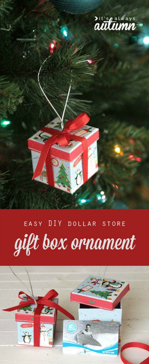 Simple Gift box Ornaments. Such a cute way to package up some of those little Christmas presents!