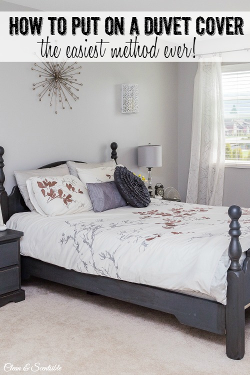 The easiest way to put on a duvet cover. // cleanandscentsible.com