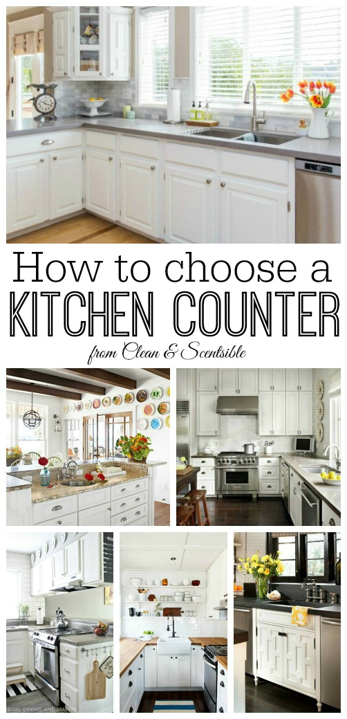 Choosing a kitchen countertop can be one of the hardest decisions in a kitchen makeover.  Great post on the pros and cons of a variety of different surface options to help you pick the right countertop for you!