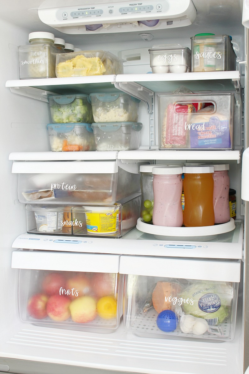 Clean and organized fridge.