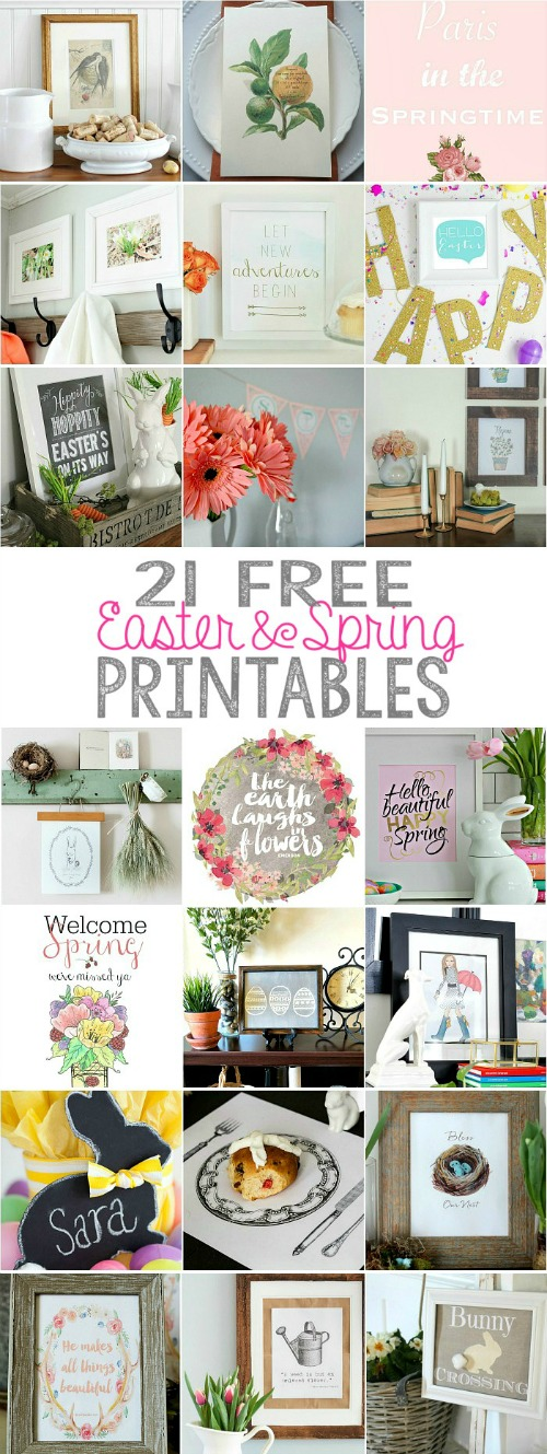 Beautiful collection of Easter and spring printables as well as easy vignette ideas.