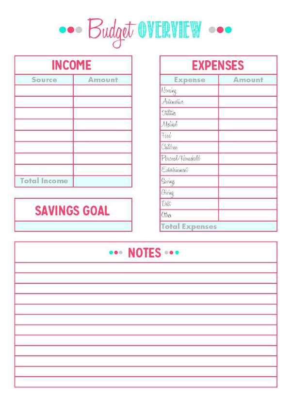 Free printables and tips to help you create and track your budget ...