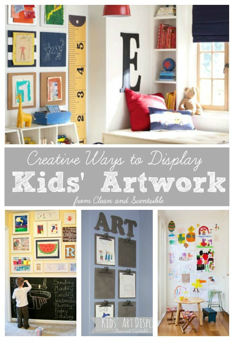 Great ways to display kids artwork and organization tips to keep all of that paper clutter under control! //cleanandscentsible.com