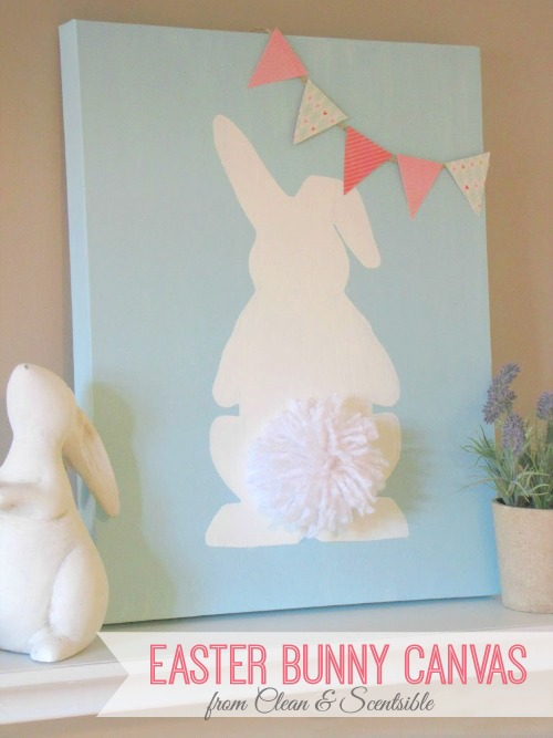 Love this cute Easter bunny canvas with pom pom tail! // cleanandscentsible.com