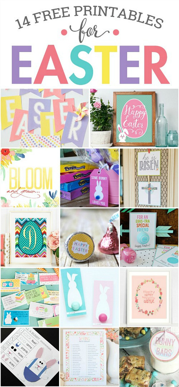 Beautiful collection of 14 free Easter printables.