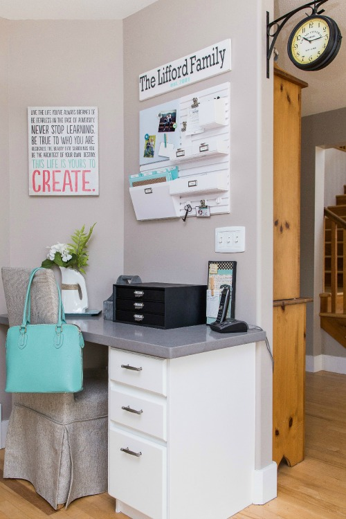 Create a kitchen command center to control and organize all of the paper clutter in your home! // cleanandscentsible.com