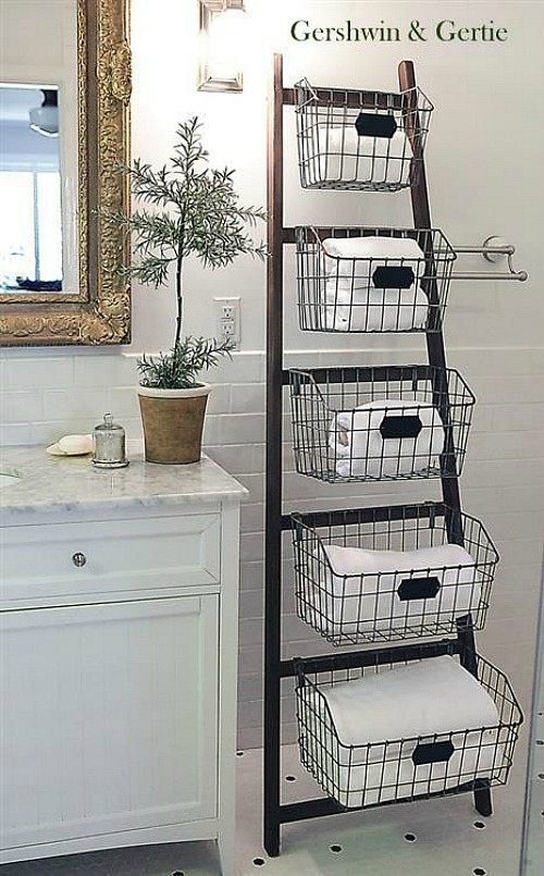 Brilliant Diy Storage Ladder Clean And Scentsible Interior Design Ideas Clesiryabchikinfo