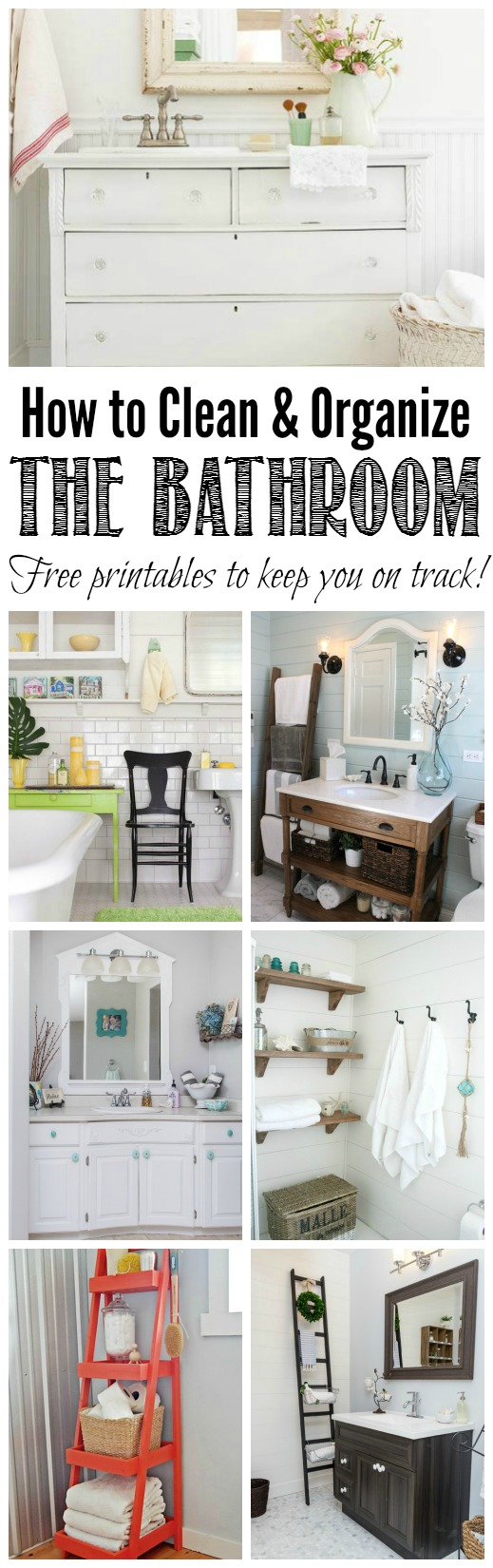 An easy to follow month long plan to get all of your bathrooms cleaned and organized. Free printables, included to help keep you on track! // cleanandscentsible.com