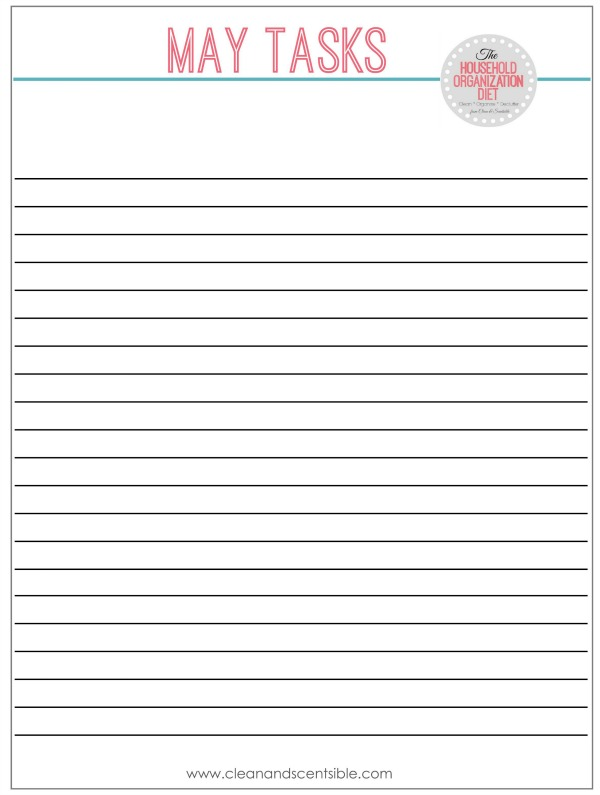 Blank task sheet for The Household Organization Diet.