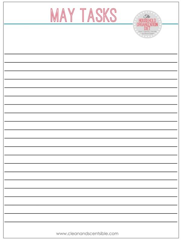 Blank task sheet for The Household Organization Diet.