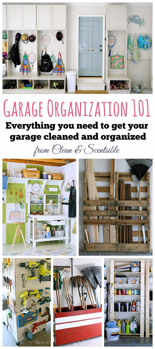 Collection of garage organization ideas and DIYs.