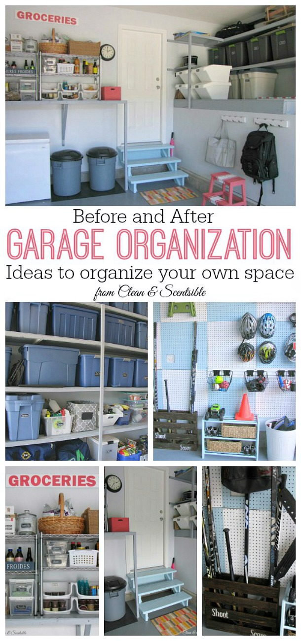 Great before and after garage organization inspiration! Lots of ideas to help you organize your garage.