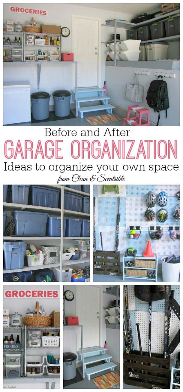 Excellente inspiration avant et après l'organisation du garage! Beaucoup d'idées pour vous aider à organiser votre garage.