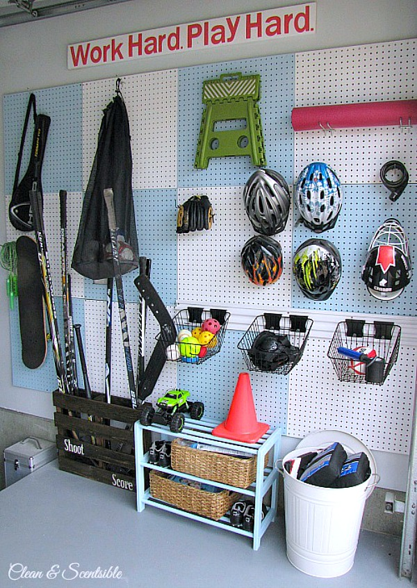 Pegboards are a cost-effective garage storage solution.