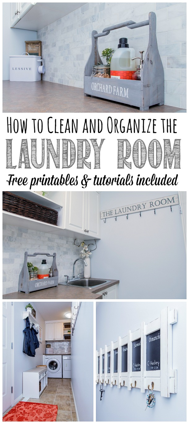 Everything you need to clean and organize the laundry room.  Free printables and tutorials included.