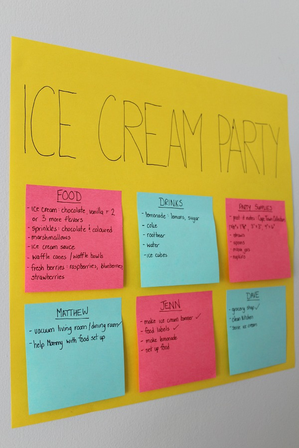 Create a party planning board using post-it notes to plan grocery list, party supplies, and to-do lists. Add to it as you think of new ideas and then just grab it when you are ready to head down to the store!