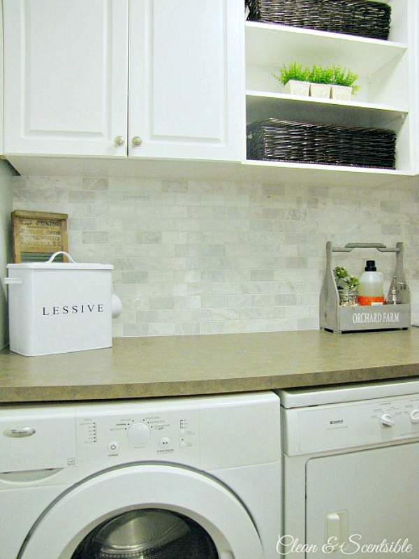 Lots of laundry room organization ideas.