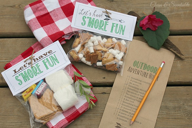 Free Outdoor Scavenger Hunt Printable And S Mores Treat Toppers Print The Scavenge