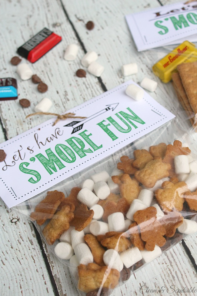 Fun outdoor scavenger hunt and s'mores treat toppers with free printables included! Isto seria divertido para uma festa ao ar livre ou para uma viagem de campismo.'mores treat toppers with free printables included! This would be fun for an outdoor party or camping trip.