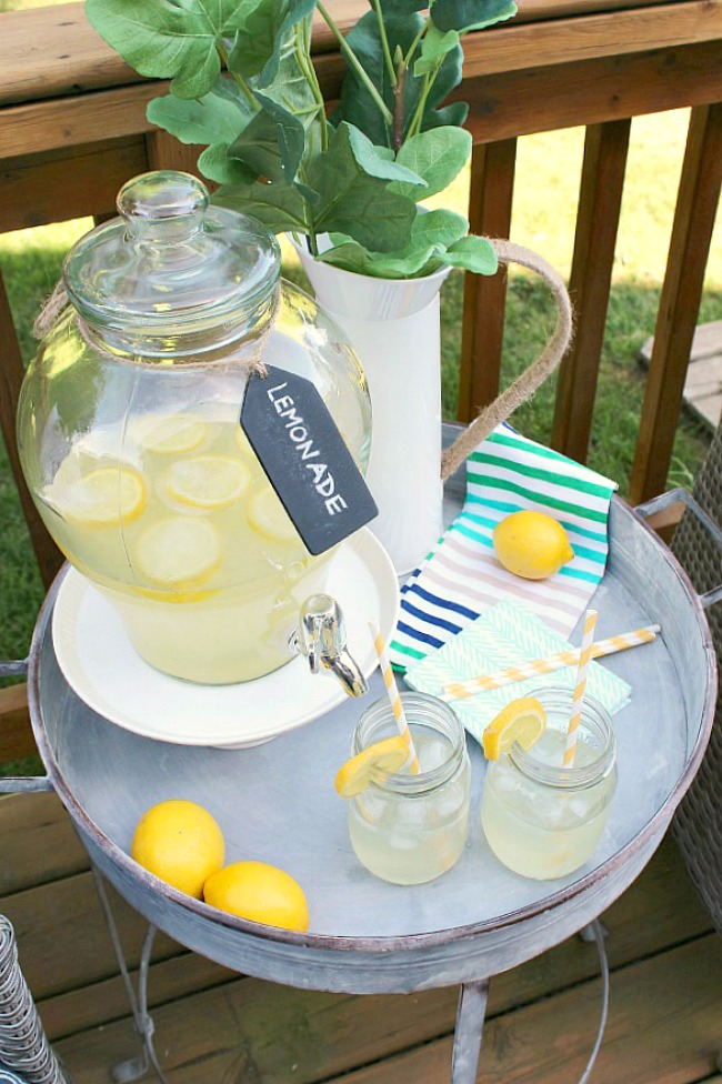 Homemade lemonade on a stand.