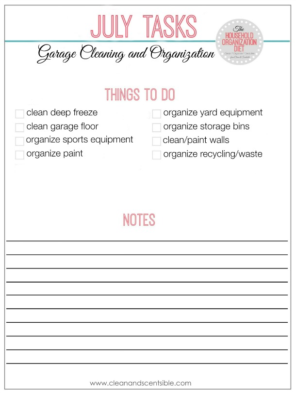 The July Household Organization Diet To Do List - Everything you need to get your garage organized!