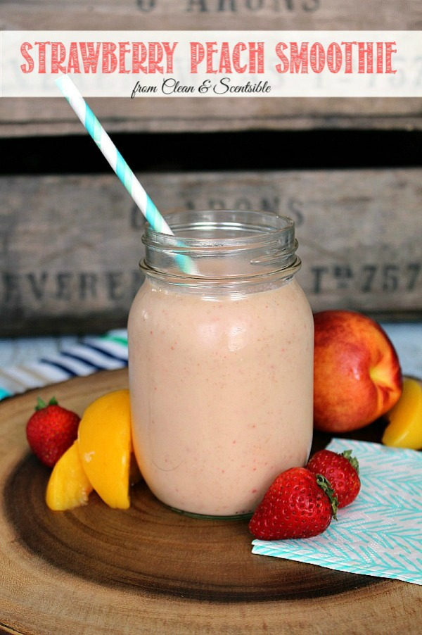 This strawberry peach smoothie is a healthy way to start off your day! Perfect for those summer fresh fruit!