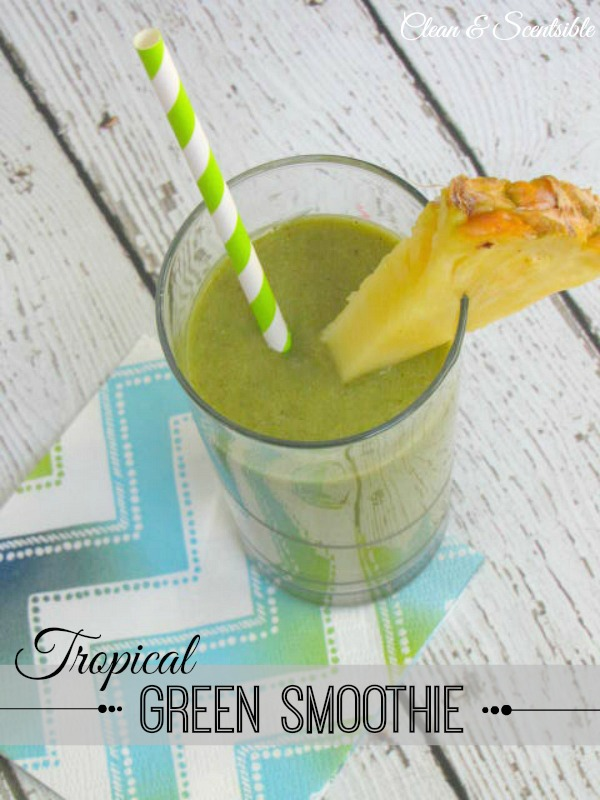 Delicious tropical green smoothie - full of nutrients and tastes just like the tropics!