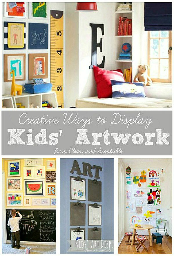 Love all of these ideas on how to display kids artwork!  Lots of tips for keeping that clutter under control too!