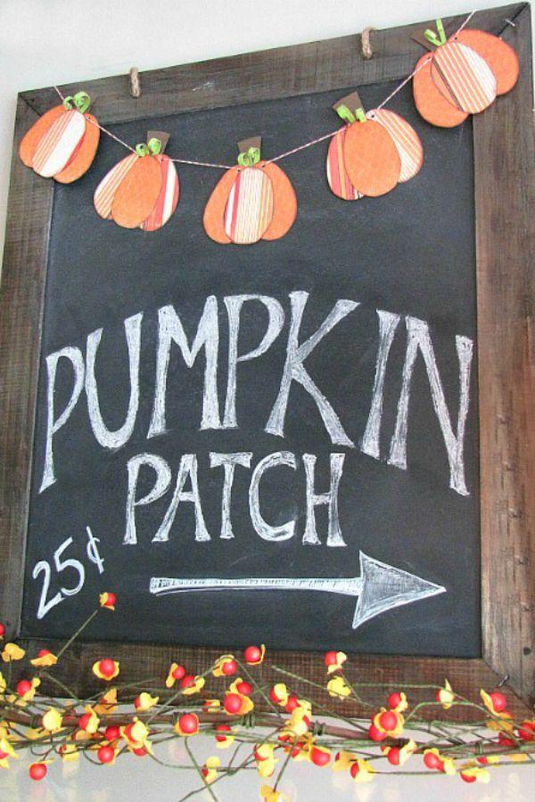 Cute fall chalkboard and mini pumpkin bunting.