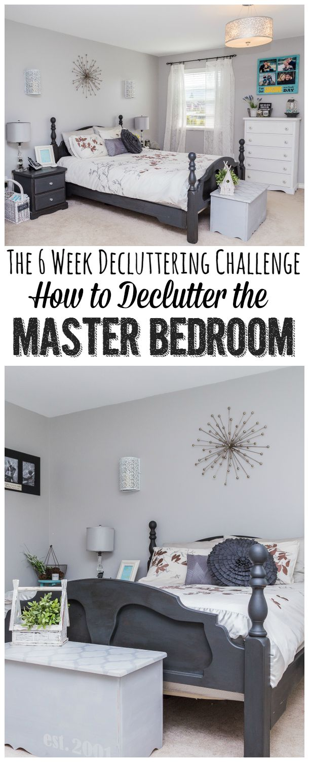 How to declutter a master bedroom.  Great tips and free planning printables to help you get things done once and for all.