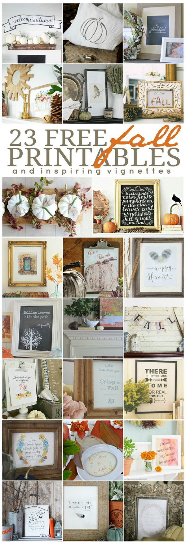 Beautiful free fall printables and inspiring fall vignettes.