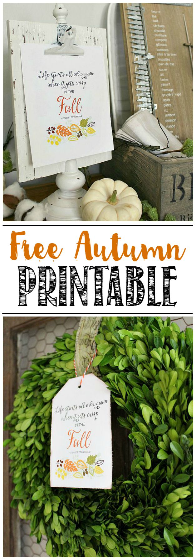 Beautiful free fall printable and along with pretty fall decor ideas.