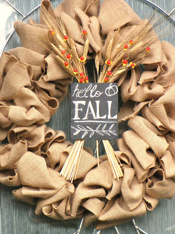 Easy fall wreath using burlap and chalkboard.