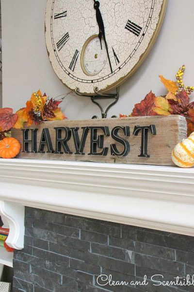 I love this simple, rustic fall sign and mantel.
