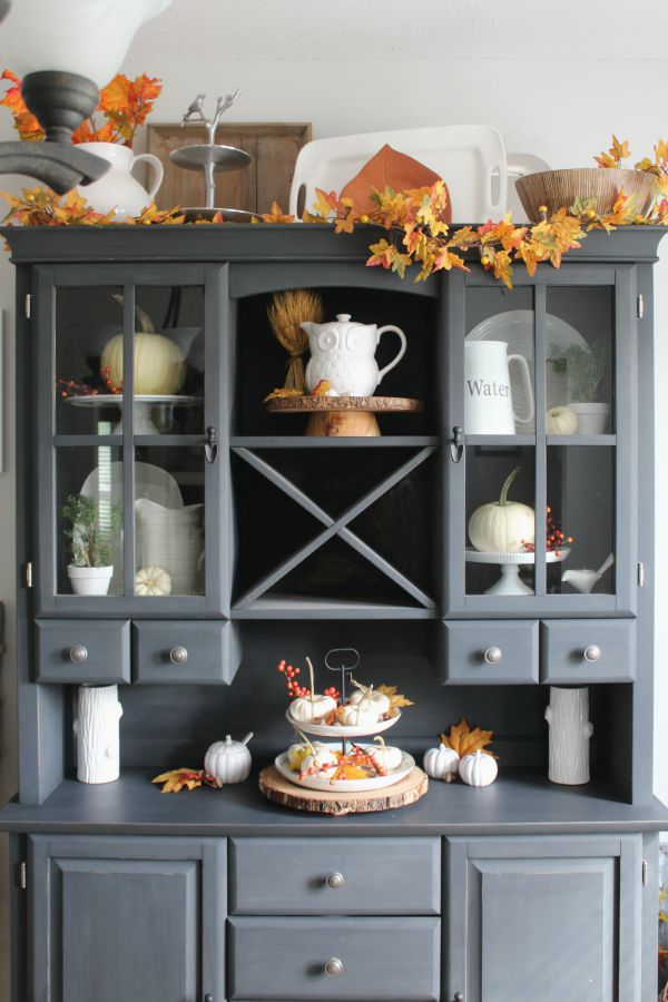 Beautiful fall hutch and fall home tour.  Tons of fall inspiration!