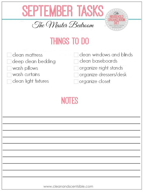 Everything you need to get your master bedroom cleaned and orgainized! Perfect to do for fall with free printables included.