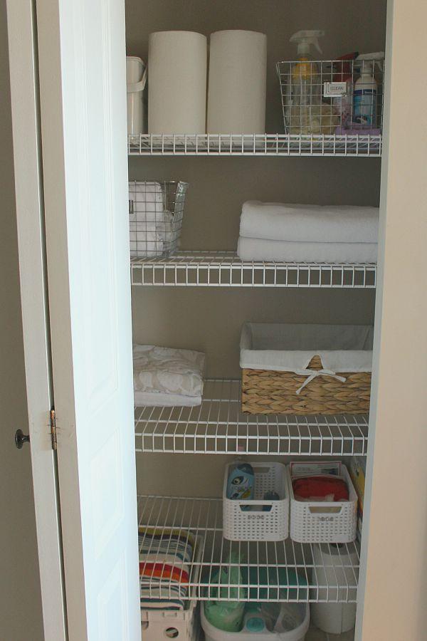 Linen closet organization ideas.