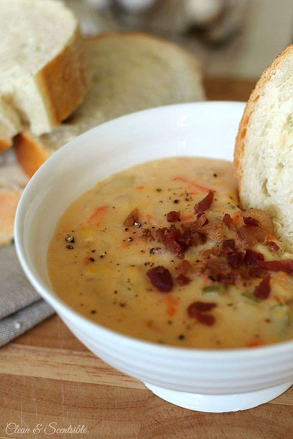 This cheesy vegetable chowder makes a delicious meal to warm up to!