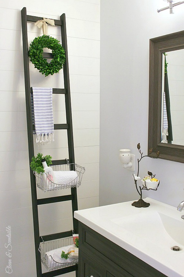 Simple Bathroom Towel Storage Homemade Ladder  Design  Pinterest