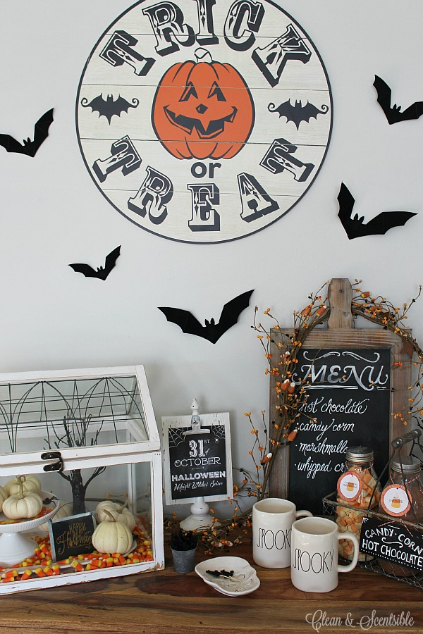 Halloween hot chocolate bar using milk jars. Free printable hot chocolate bar labels included.