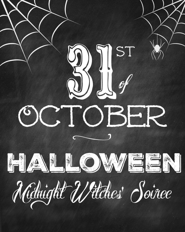 Free Midnight Witches' Soiree chalkboard Halloween printable.