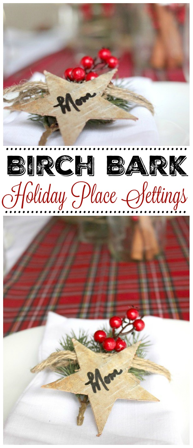 These birch bark place settings are simple to make and add the perfect rustic touch to your Christmas tablescape.