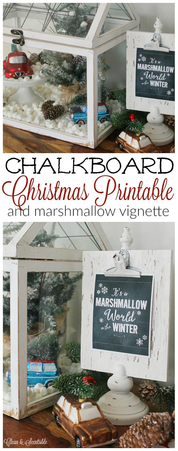 Free chalkboard Christmas printable - love this cute marshmallow world vignette!