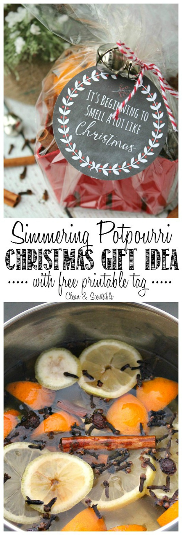 Make your home smell like Christmas with this easy simmering potpourri recipe. Works great as a simple gift idea as well with a free printable gift tag.