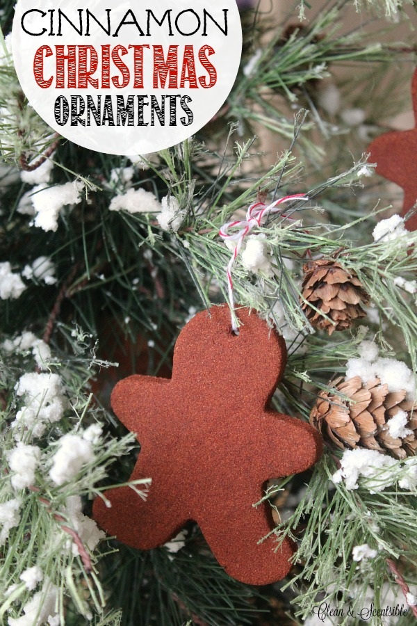 Gingerbread cinnamon ornament hanging on a Christmas tree. - Christmas Cinnamon Ornaments - Clean And Scentsible