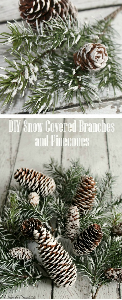 These DIY snow covered branches and pinecones are so pretty!