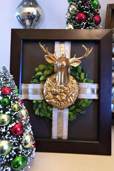 Framed Reindeer Christmas Wreath