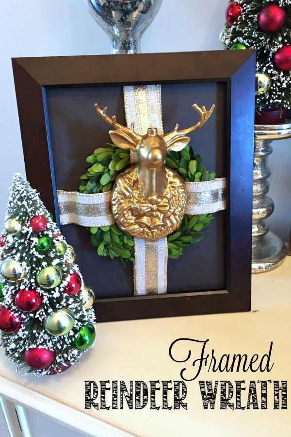 Framed reindeer wreath. Cute idea and simple to do!