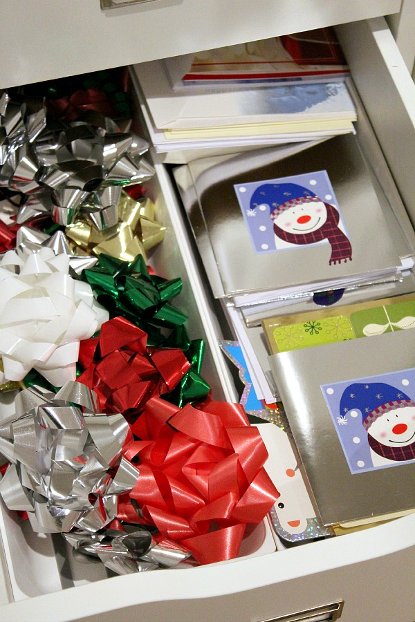 Gift wrapping station and storage ideas. Perfect for storing all of those little things that you don't know where to put!
